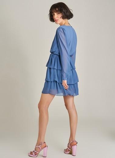 Agenda Şifon Katlı Elbise Mavi